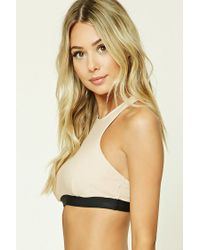 Forever 21 - Natural Colorblock High Neck Bikini Top - Lyst
