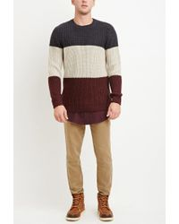 Forever 21 - Red Colorblocked Wool-blend Sweater for Men - Lyst