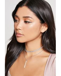 Forever 21 | Multicolor Rhinestone Choker & Necklace Set | Lyst