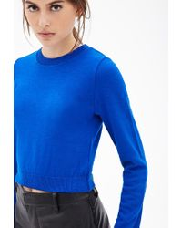 Forever 21 - Blue Ribbed Knit Cropped Sweater - Lyst