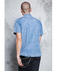 Forever 21 - Blue Washed Denim Shirt for Men - Lyst