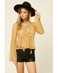 Forever 21 - Yellow Lace-up Babydoll Top - Lyst