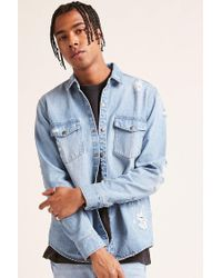 Forever 21 - Blue Distressed Denim Shirt for Men - Lyst