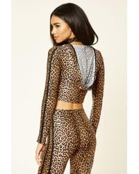 Forever 21 - Brown Leopard Print Hooded Crop Top - Lyst