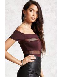 Forever 21 - Multicolor Shadow-stripe Bodysuit - Lyst