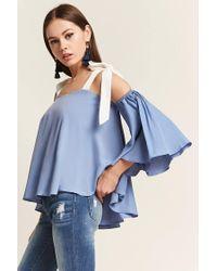 Forever 21 - Blue Woven Open-shoulder Top - Lyst