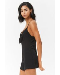 Forever 21 - Black Tie-front Playsuit - Lyst