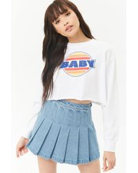 Forever 21 - Blue Denim Knife Pleat Skirt - Lyst
