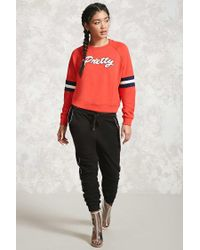 Forever 21 - Red Pretty Graphic Varsity Sweatshirt - Lyst