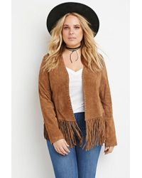 Forever 21 - Brown Genuine Suede Fringed Jacket - Lyst