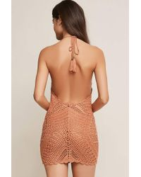 Forever 21 - Brown Crochet Cover-up Dress - Lyst