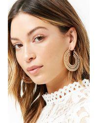 Forever 21 - Metallic Ornate Cutout Hoop Earrings - Lyst