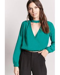 Forever 21 - Green Chiffon Mock Neck Top - Lyst