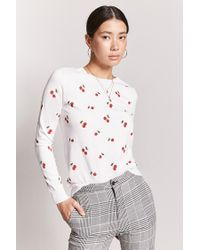 a40ad4d8f51fca Forever 21. Women's Cherry Print Sweater