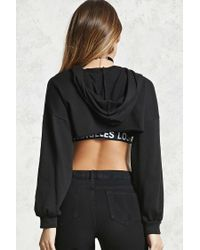 Forever 21 - Black Raw-cut Super Cropped Hoodie - Lyst