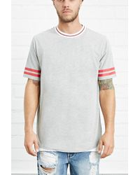 Forever 21 | Gray Varsity-striped Heathered Tee for Men | Lyst