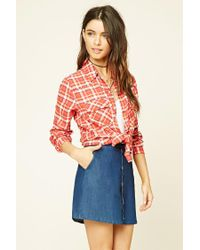 Forever 21 | Red Snap-button Check Shirt | Lyst
