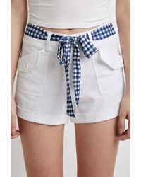 Forever 21 - White Gingham Belt Shorts - Lyst