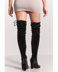 Forever 21 - Black Velvet Over-the-knee Boots - Lyst