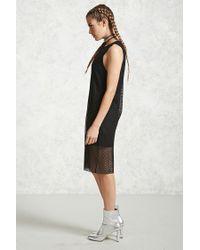 Forever 21 - Black Semi-sheer Mesh Combo Dress - Lyst