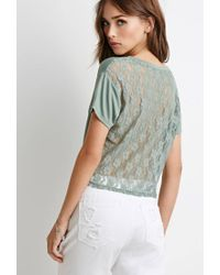 Forever 21 - Green Lacy Knotted Tee - Lyst