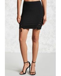 Forever 21 | Black Contemporary Ribbed Skirt | Lyst
