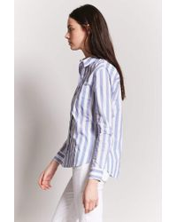 Forever 21 Blue Women's High-low Striped Shirt