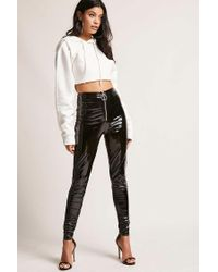 95aa7de9a4c398 Forever 21 Faux Patent Leather Pants in Black - Lyst