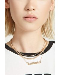 Forever 21 - Metallic Layered Los Angeles Necklace - Lyst