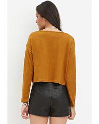 Forever 21 - Orange Slub Knit Crop Top - Lyst