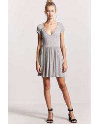 Forever 21 - Gray V-neck Fit & Flare Dress - Lyst