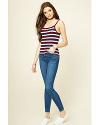 Forever 21 - Blue Women's Stripe Knit Camisole Top - Lyst