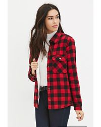 Forever 21 - Red Faux Shearling Plaid Jacket - Lyst