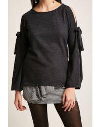 Forever 21 - Gray Open-sleeve Knit Top - Lyst