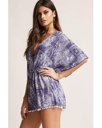 Forever 21 - Blue Abstract Plunging Romper - Lyst