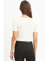 Forever 21 - White Ribbed Sweater Crop Top - Lyst