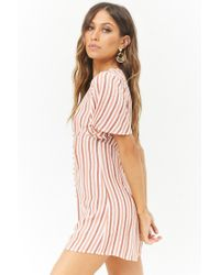Forever 21 - Pink Multicolor Striped Button-front Playsuit - Lyst