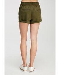 Forever 21 - Green Linen-blend Drawstring Shorts - Lyst