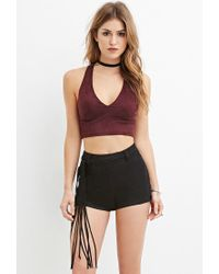 Forever 21 - Black Women's Fringed Faux Suede Shorts - Lyst