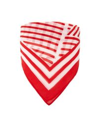 Forever 21 - Red Striped Satin Square Scarf - Lyst