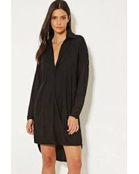 Forever 21 - Black Mlm Collared Surplice Dress - Lyst