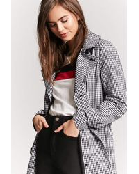 Forever 21 - Black Gingham Double-breasted Trench Coat - Lyst