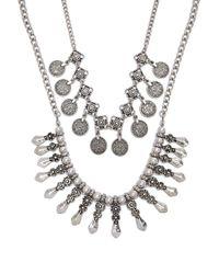 Forever 21 Metallic Burnished Ornate Necklace Set , B.silver