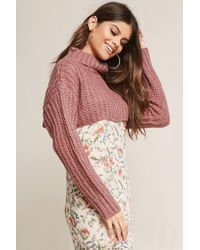 Forever 21 - Purple Cropped Turtleneck Sweater - Lyst