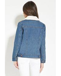 Forever 21 - Blue Faux Shearling Denim Jacket - Lyst