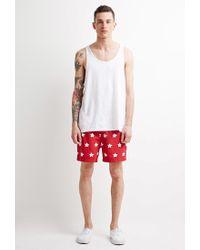Forever 21 - Red Daisy Swim Trunks for Men - Lyst