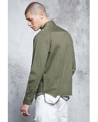 Forever 21 - Green Distressed Pocket Shirt for Men - Lyst