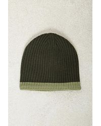 Forever 21 - Green Cuffless Ribbed Beanie Hat for Men - Lyst