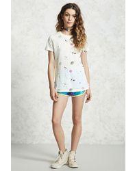 Forever 21 - White Slub Knit Space Print Tee - Lyst