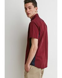 Forever 21 - Red Colorblock Micro-stripe Shirt for Men - Lyst
